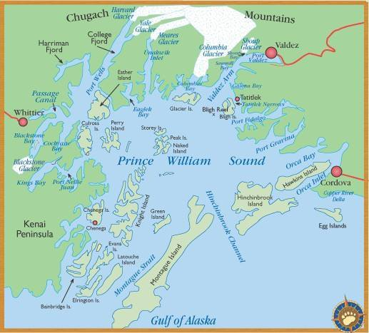 carte de Prince William Sound Alaska